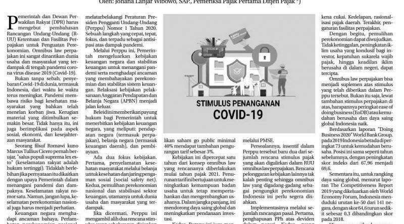 Suplemen Stimulus Lewat Omnibus Pajak